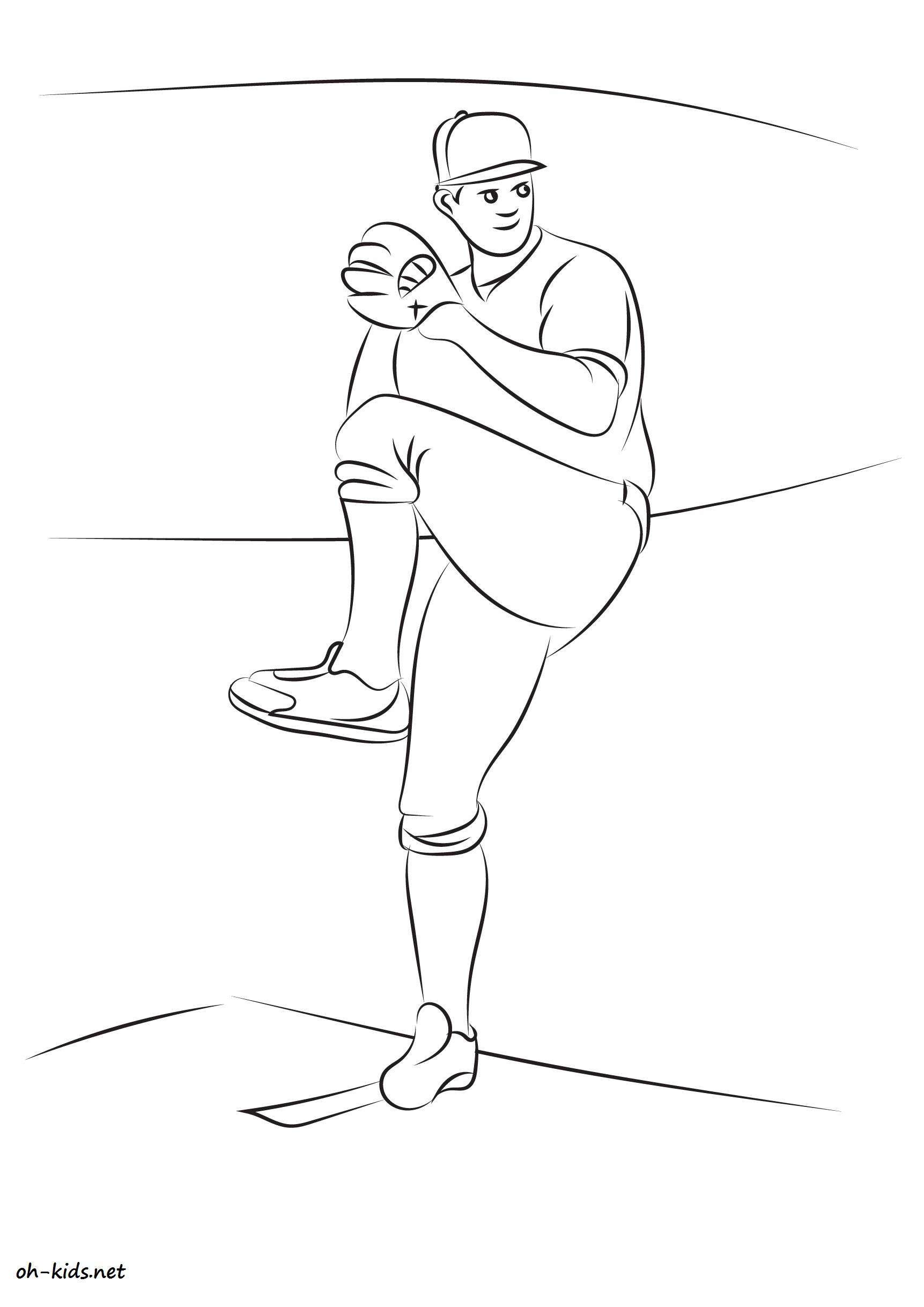 coloriage gratuit de baseball à imprimer - Dessin #796