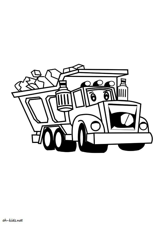 coloriage camion benne oh kids fr. Black Bedroom Furniture Sets. Home Design Ideas