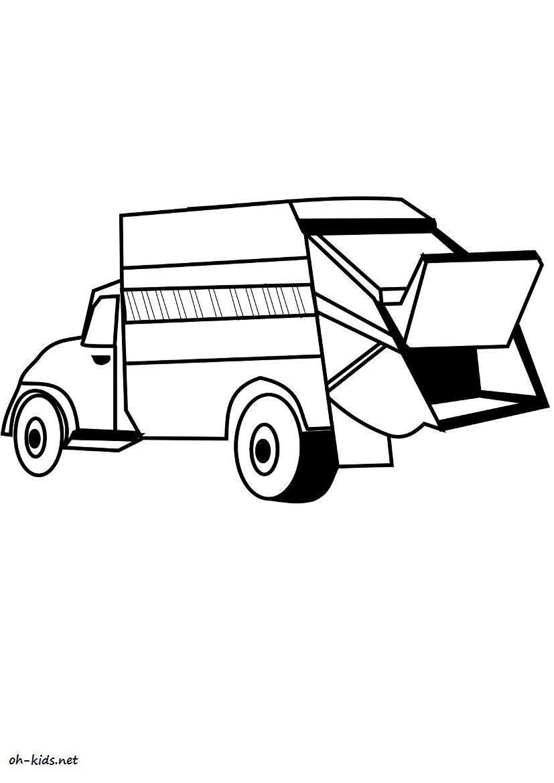 Dessin 894 Coloriage Camion Poubelle à Imprimer Oh Kids Net