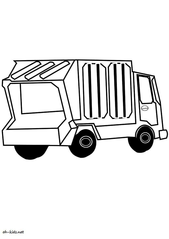 Pin poubelle coloriage on pinterest - Coloriage camion de poubelle ...