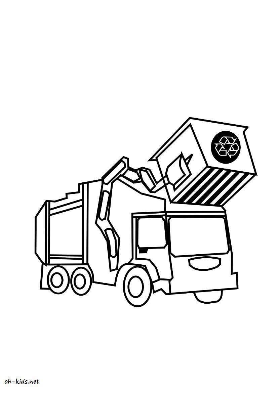 Coloriage camion poubelle oh kids fr - Coloriage camion de poubelle ...