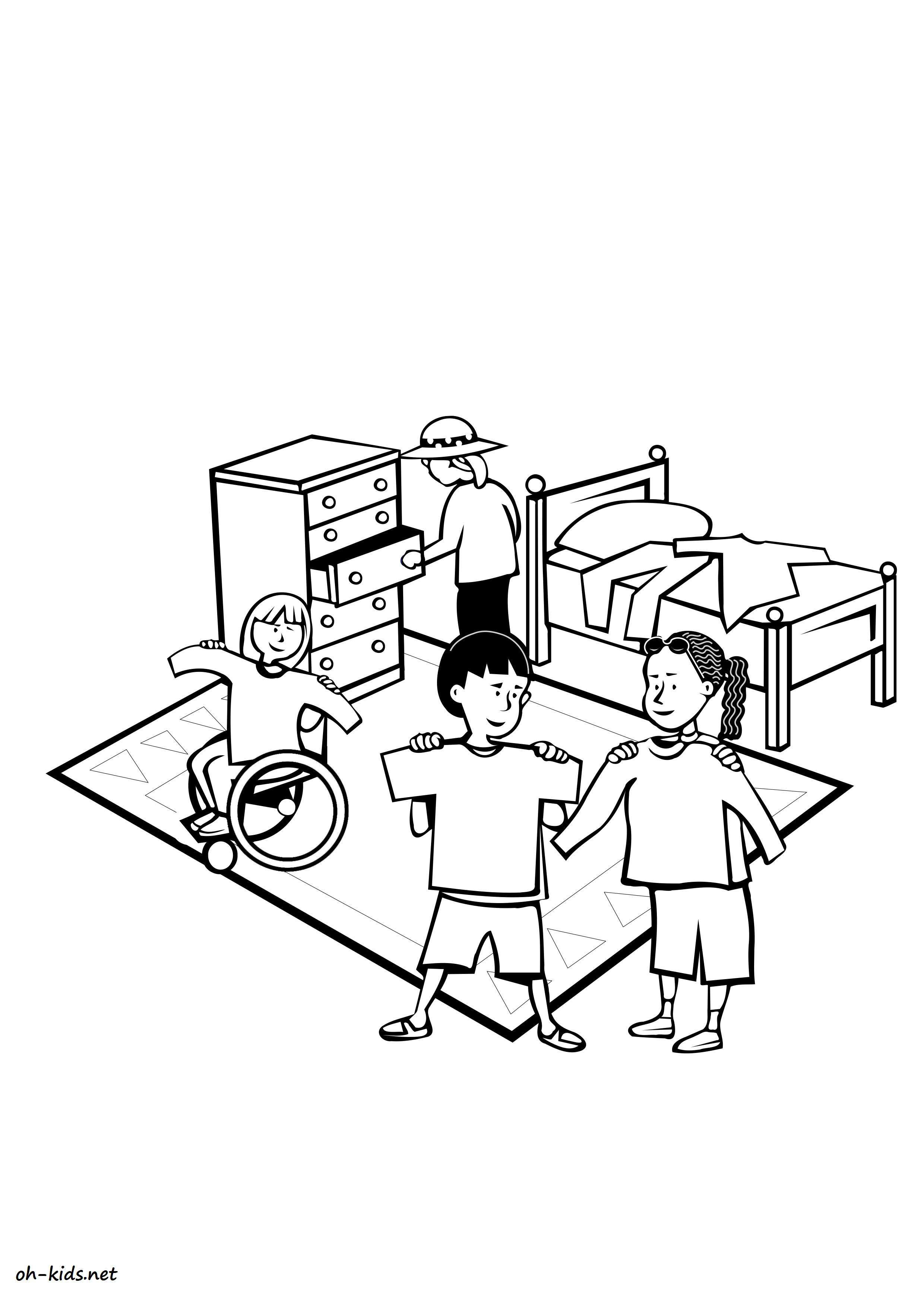 coloriage chambre page 2 of 2 oh kids fr. Black Bedroom Furniture Sets. Home Design Ideas