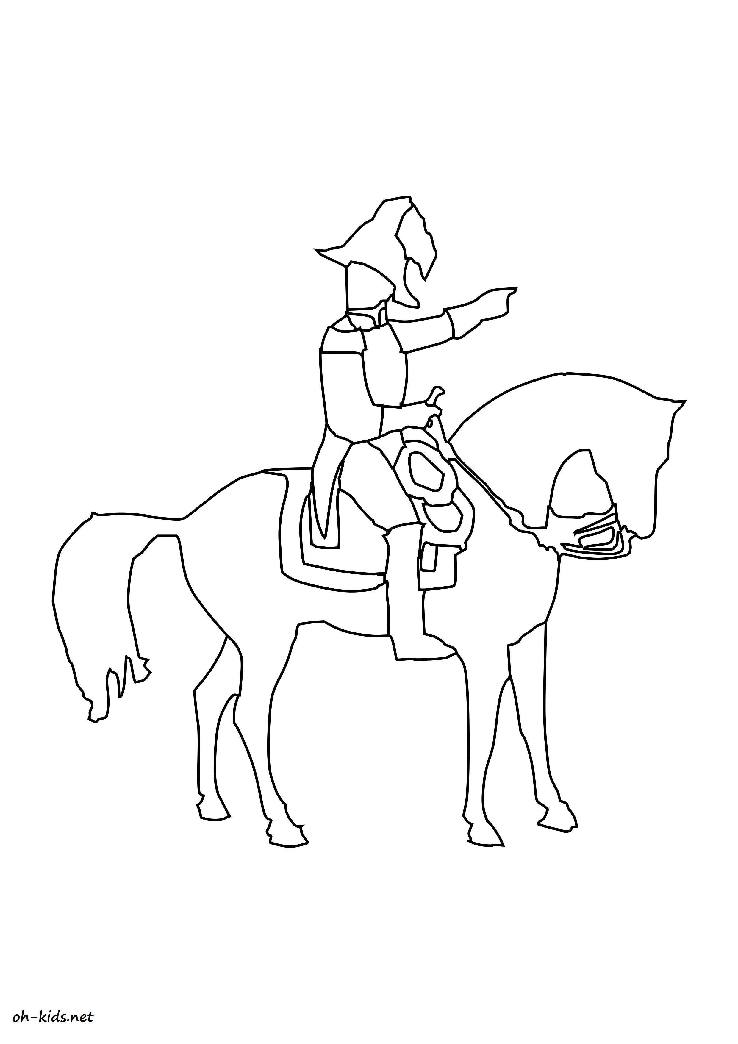 Activité de coloriage équitation gratuit a imprimer et colorier - Dessin #1374