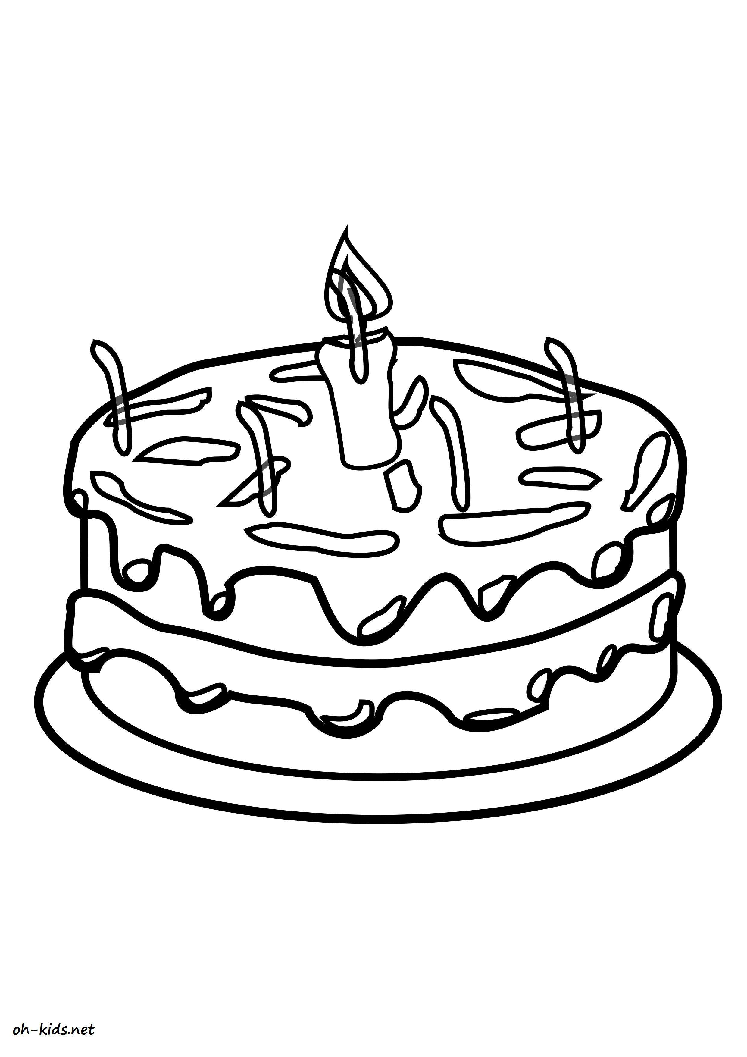 Un beau dessin de gâteau anniversaire a imprimer pour les enfants - Dessin #1164