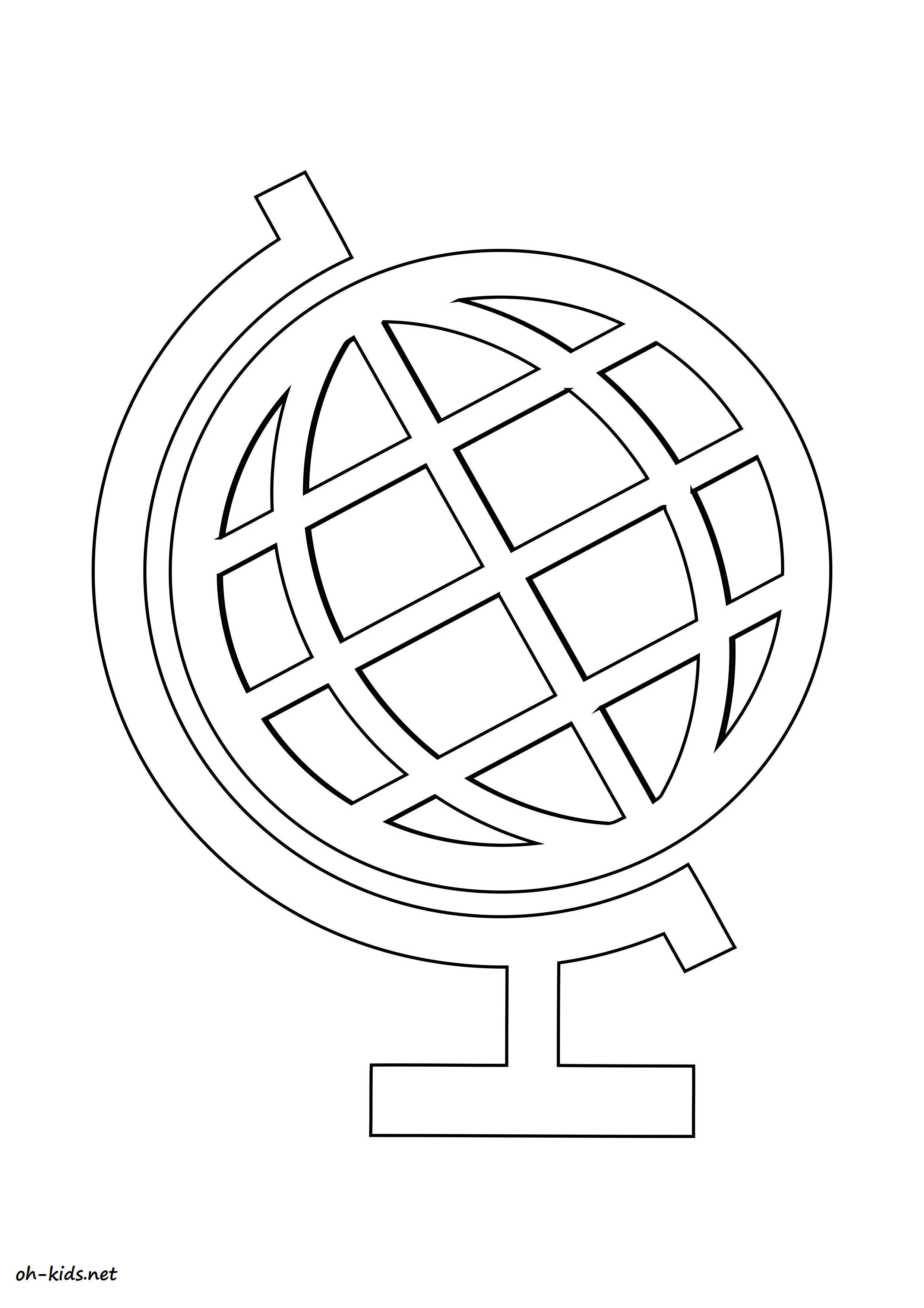 Image de globe terrestre a dessiner - Dessin #1186