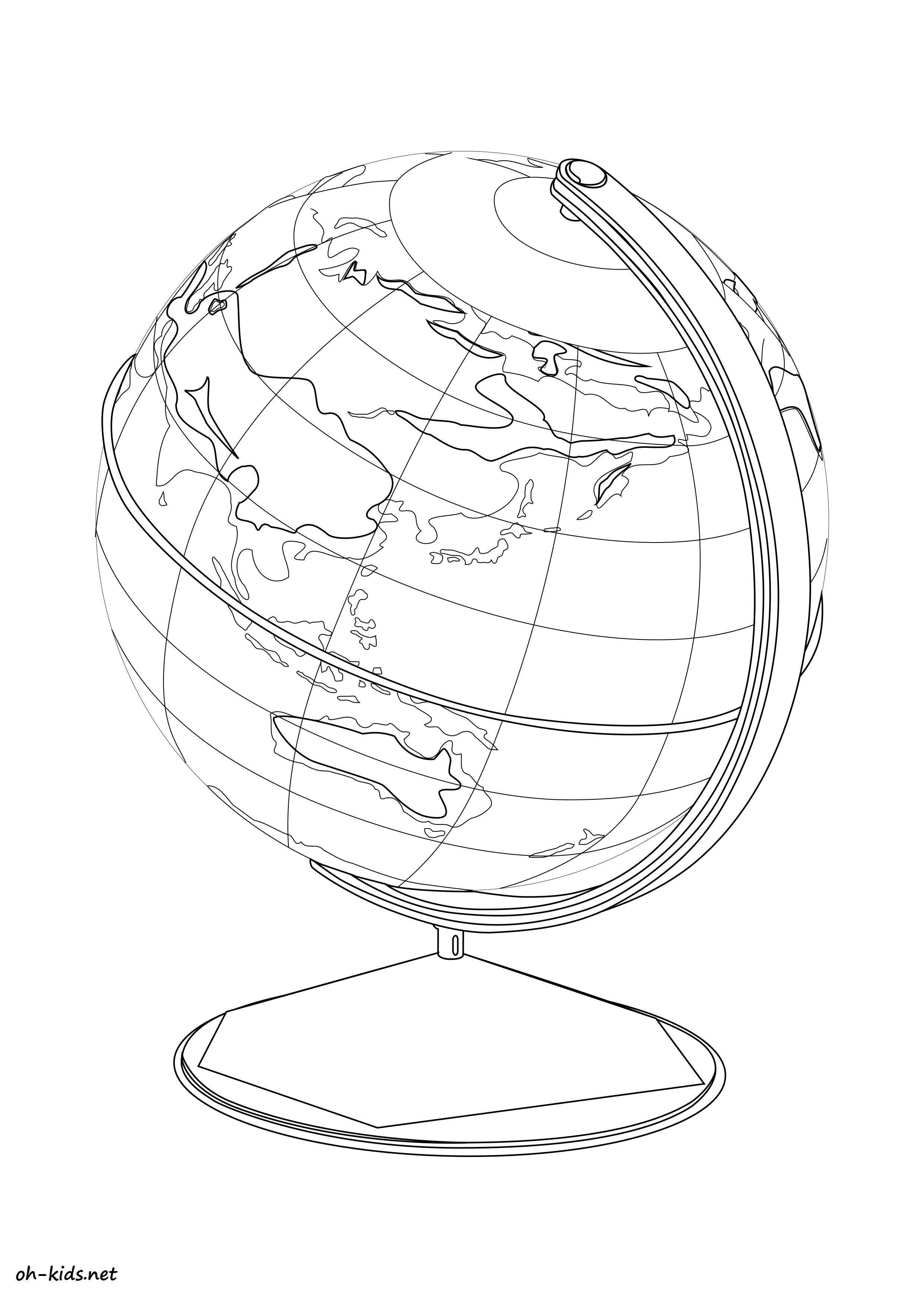 coloriage de globe terrestre amusant gratuit - Dessin #1187