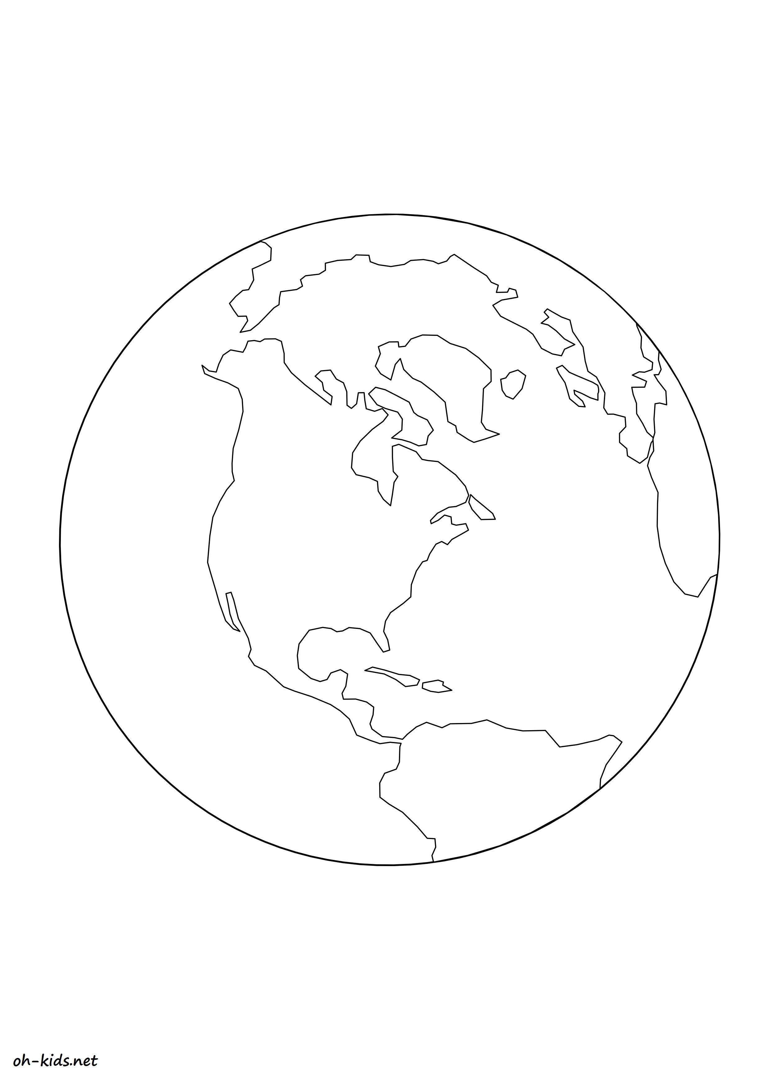 coloriage globe terrestre gratuit à imprimer et colorier - Dessin #1188
