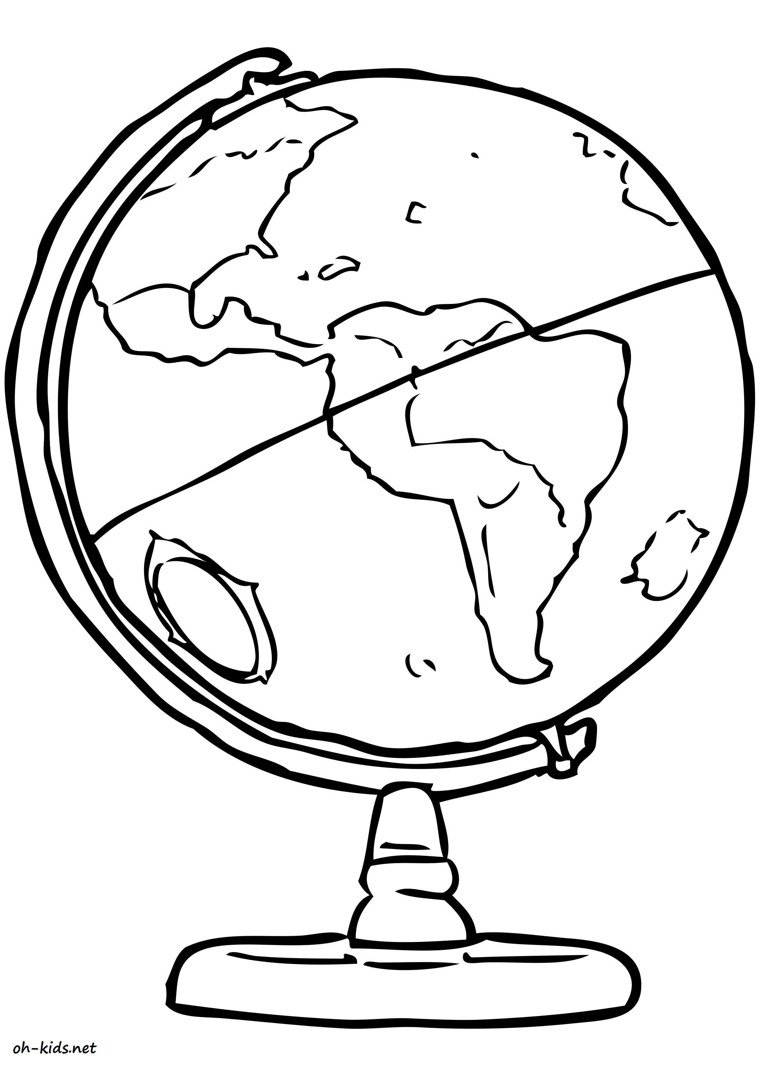 Dessin de globe terrestre a colorier - Dessin #1189