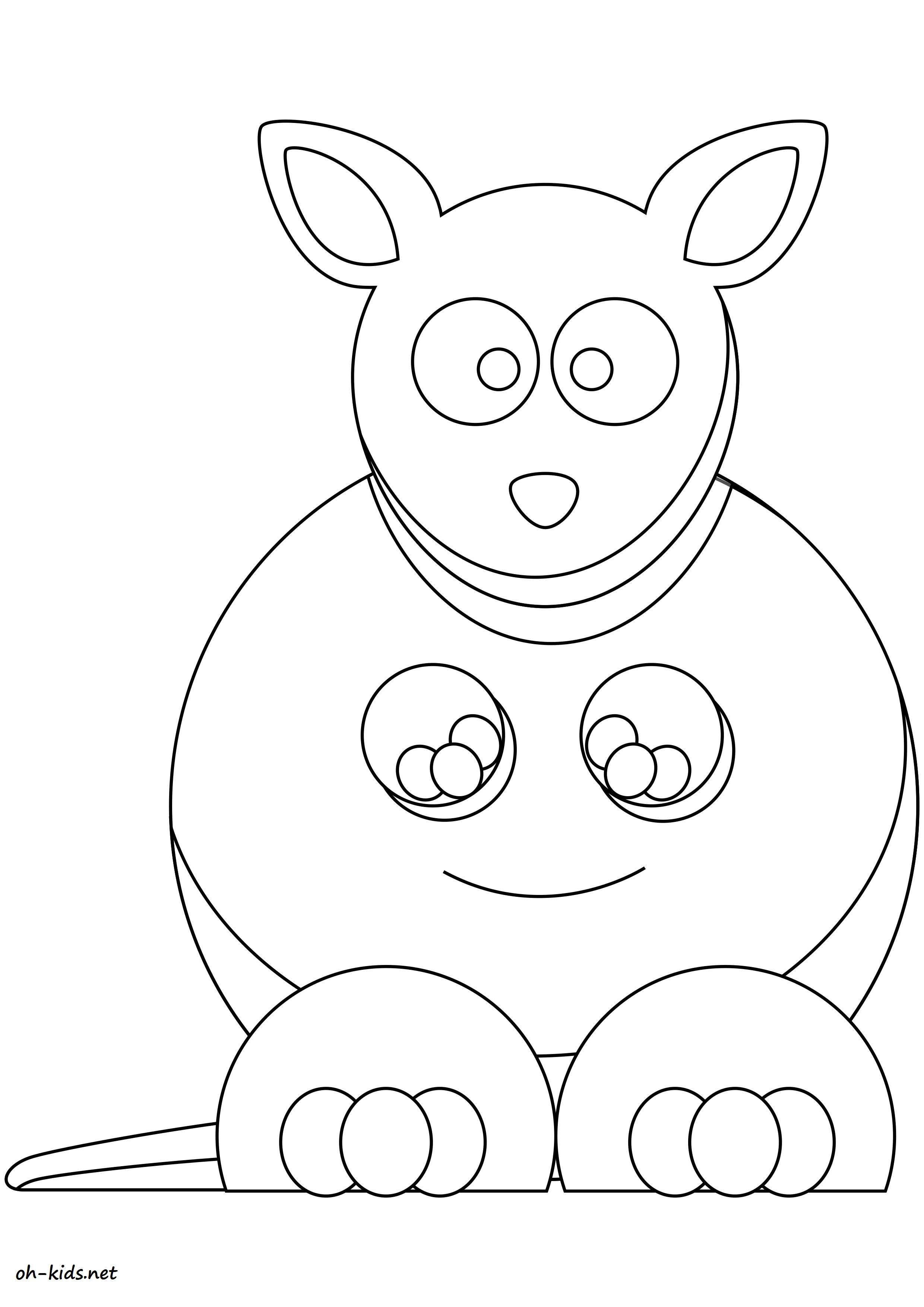 Activité de coloriage kangourou à colorier - Dessin #1624