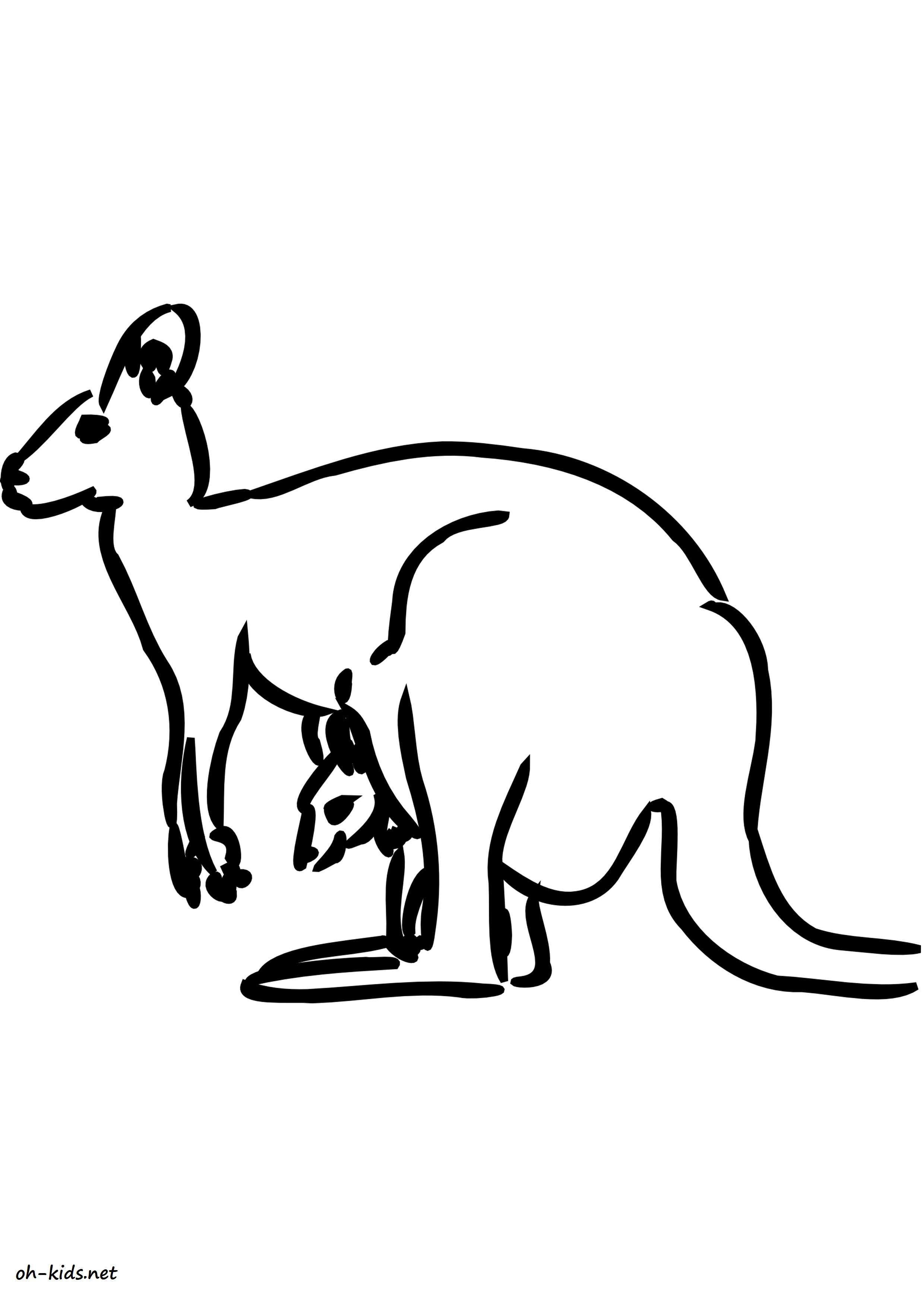 Image de kangourou a colorier - Dessin #1627
