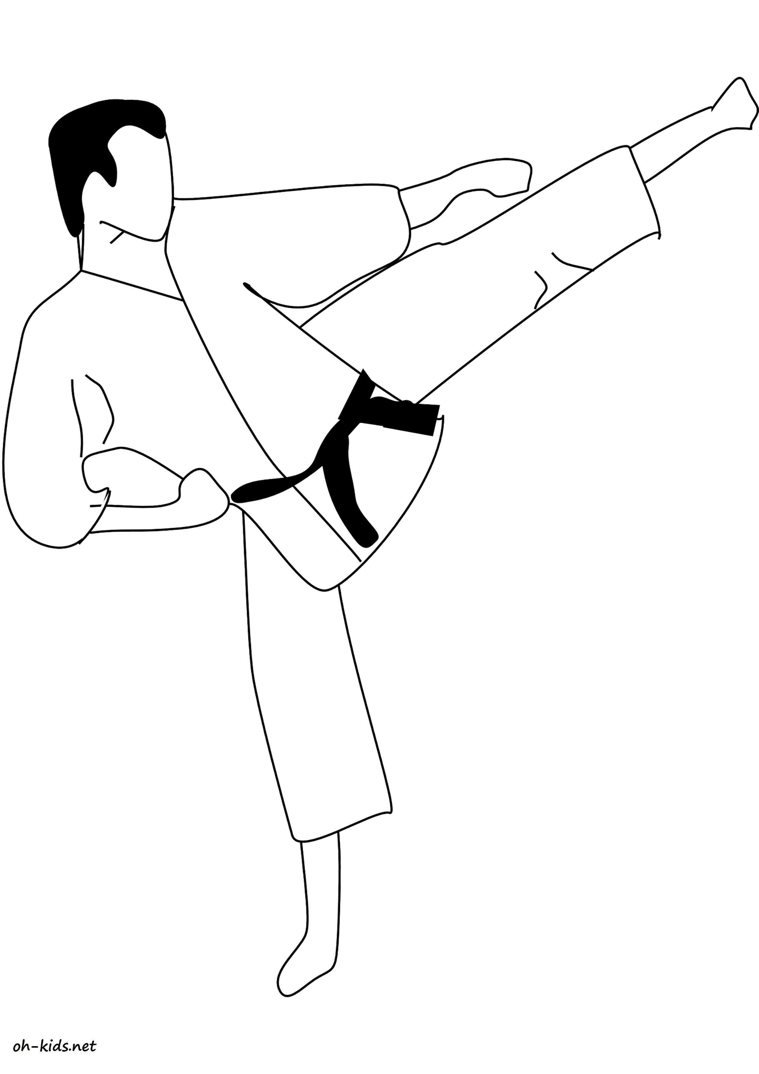 dessin gratuit de karate a colorier - Dessin #1389