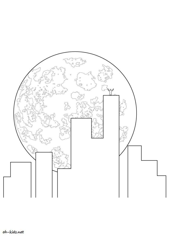 Dessin 453 Coloriage Lune à Imprimer Oh Kids Net