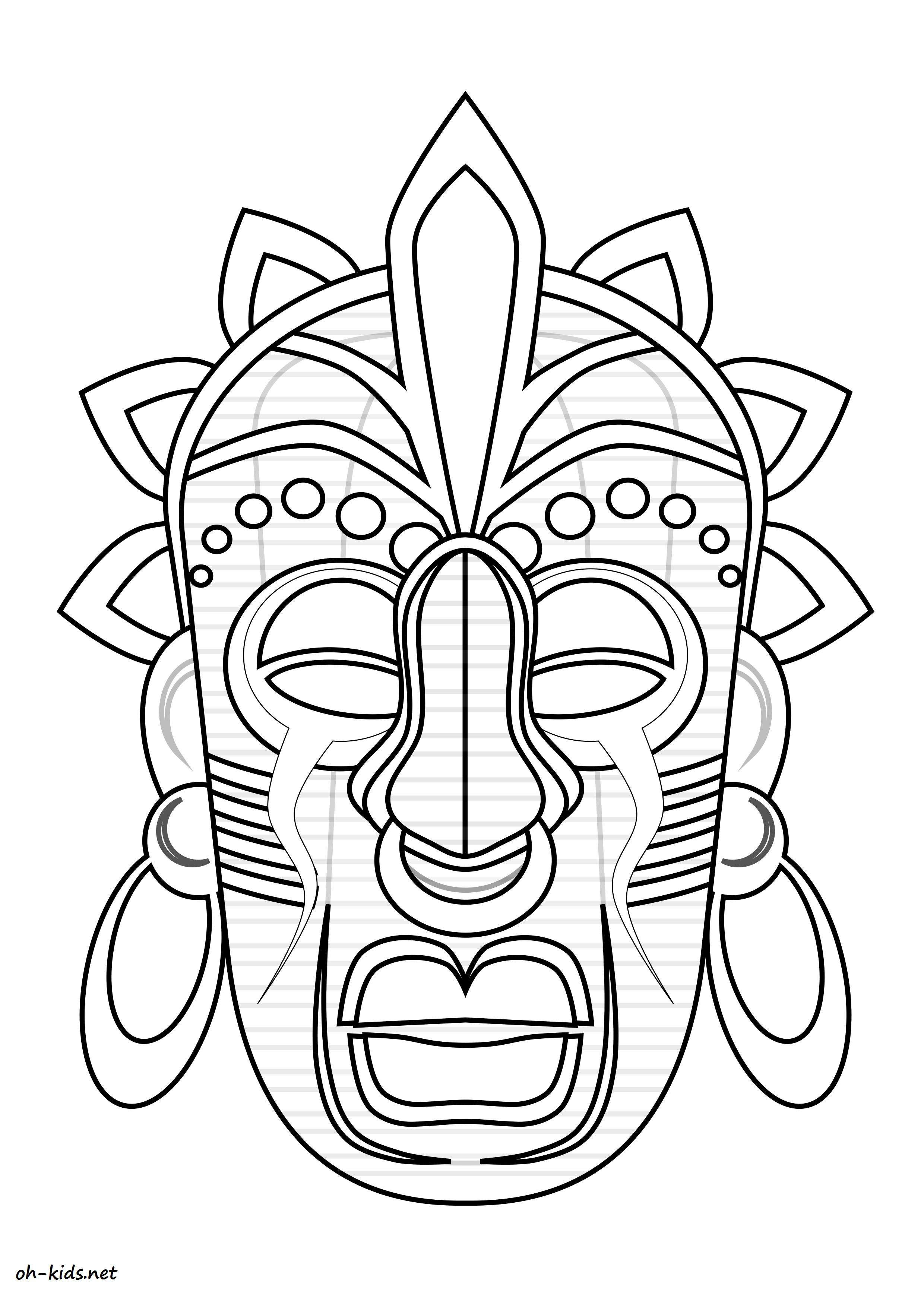 masque africain dessin colorier