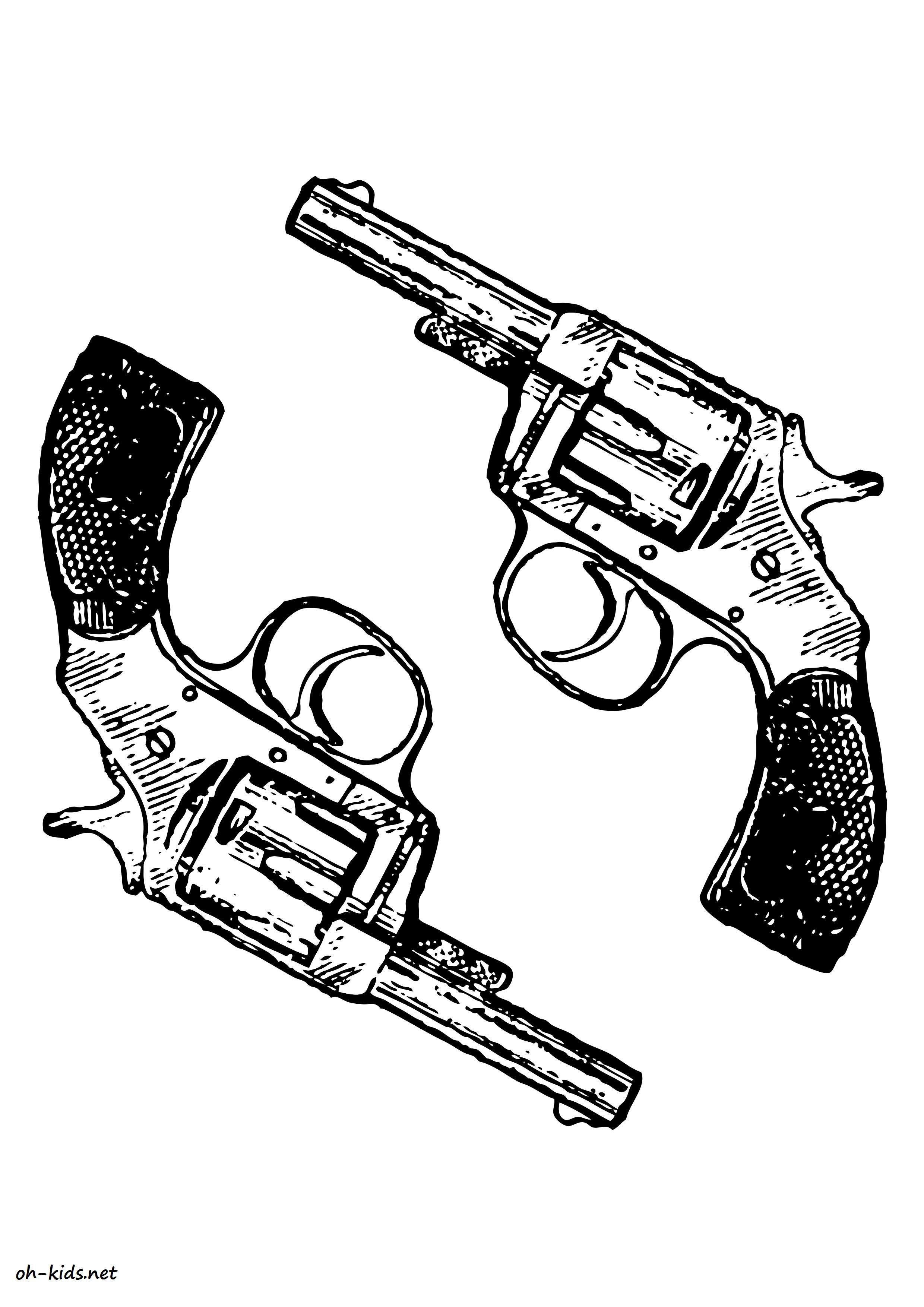 Coloriage pistolet à colorier - Dessin #1170