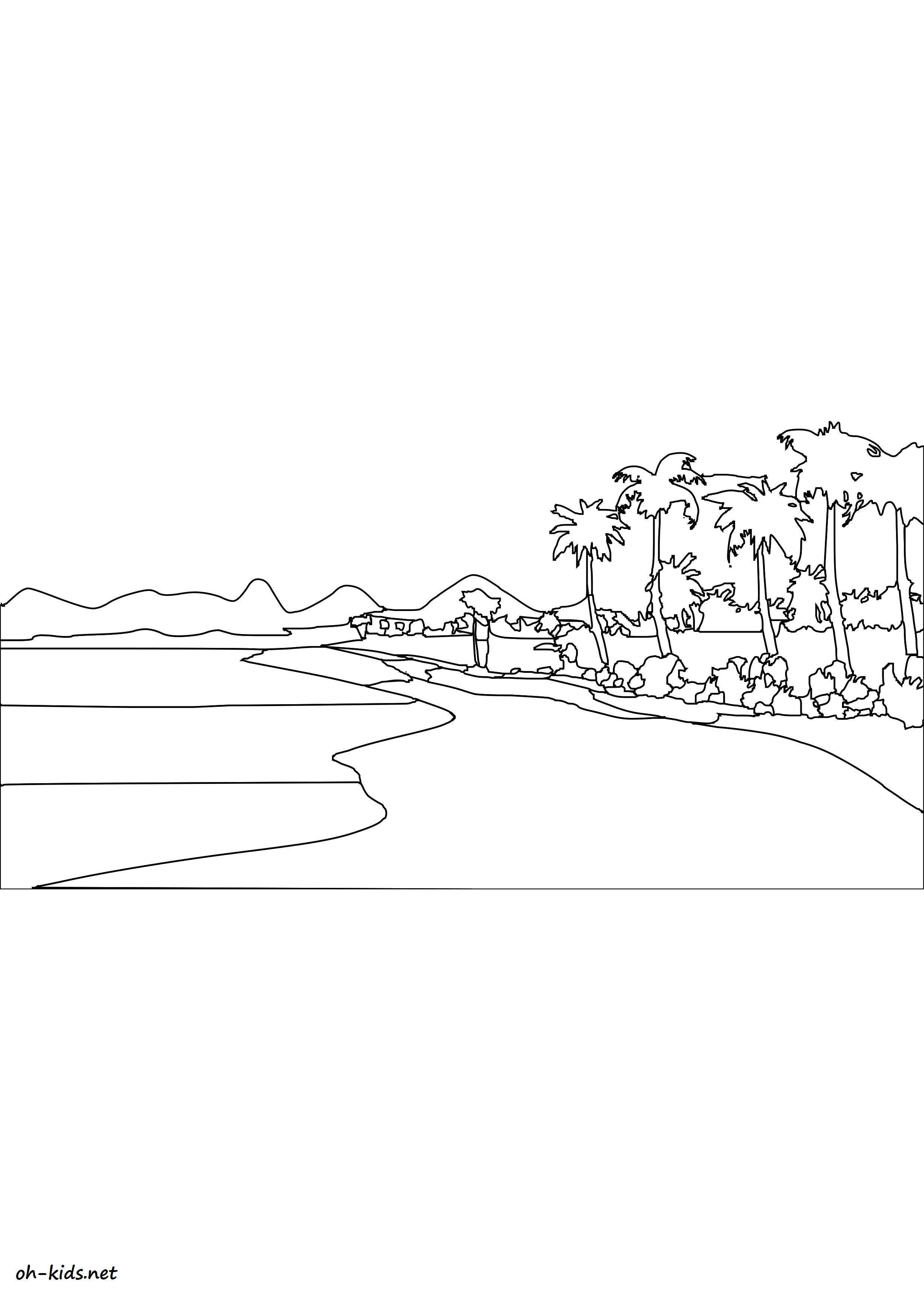 Un beau coloriage de plage à imprimer et colorier - Dessin #1462