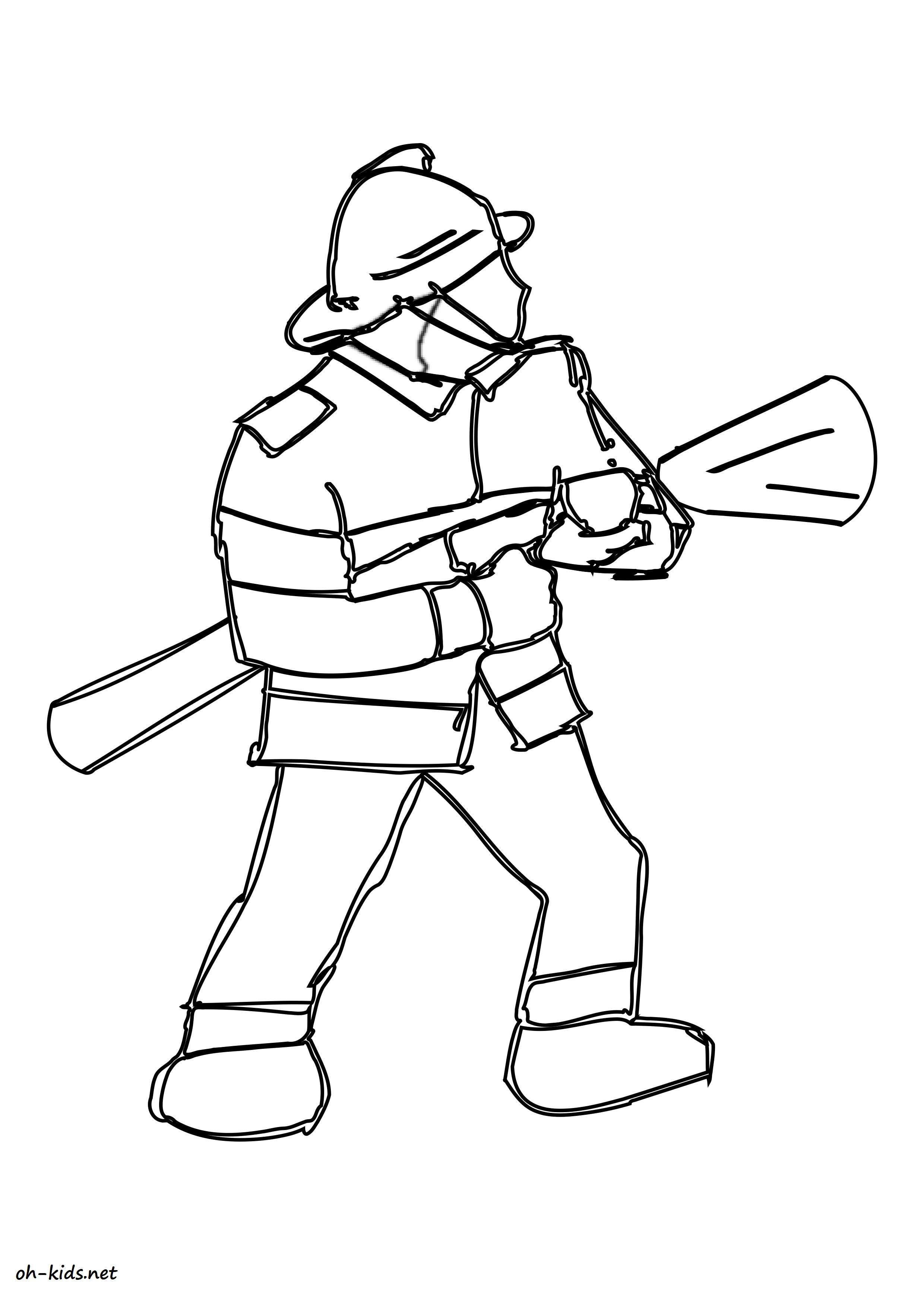 Jolie image de pompier a imprimer et colorier - Dessin #1552