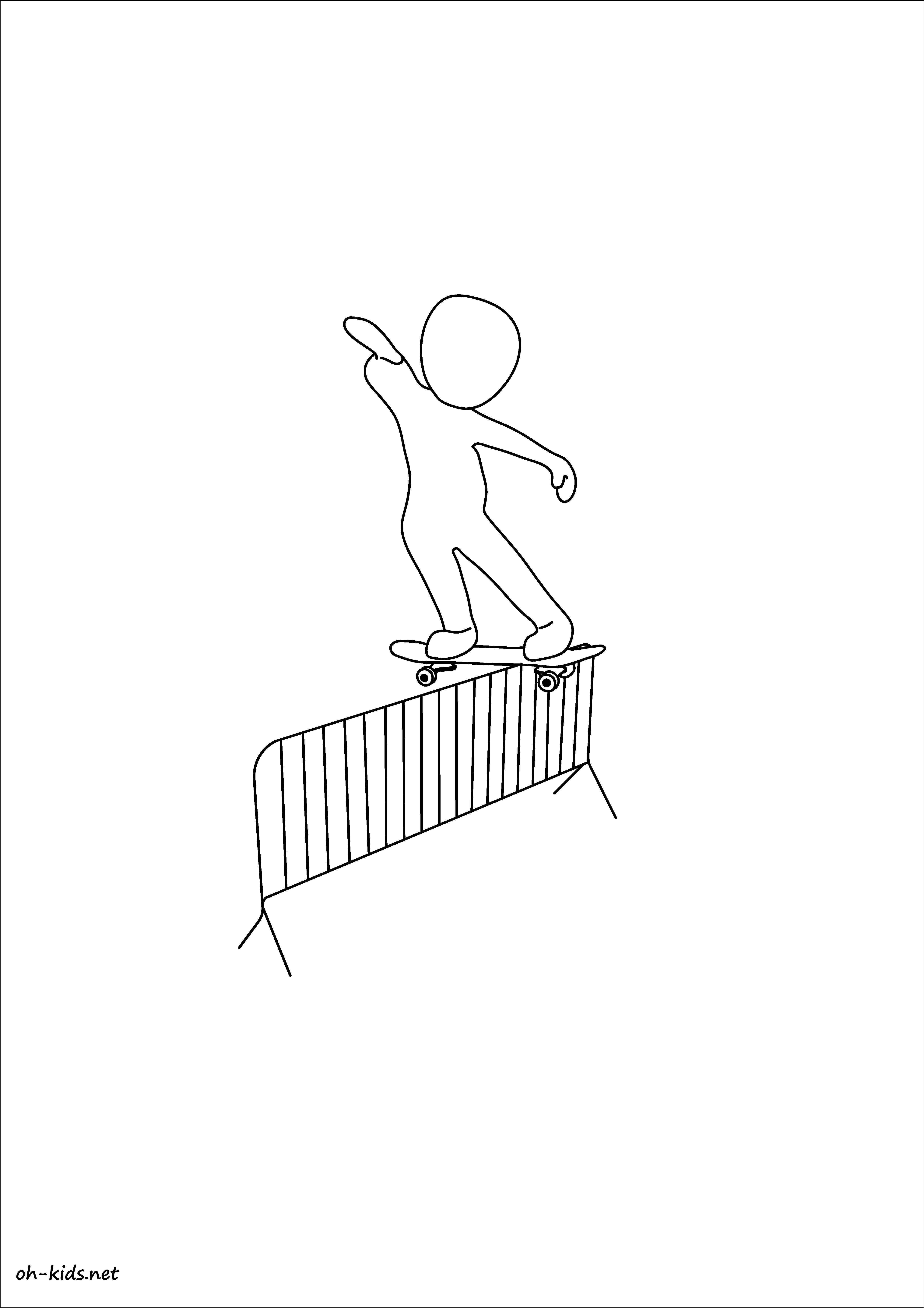 coloriage skateboard gratuit - Dessin #296