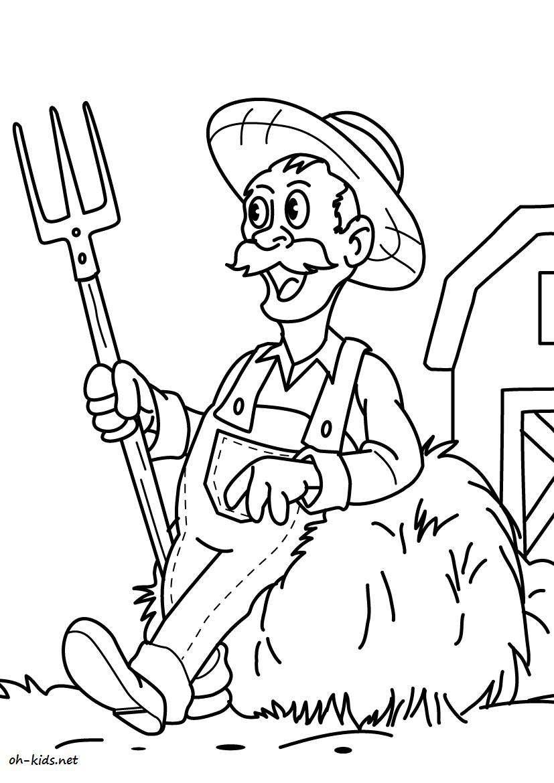 Dessin #820 - Coloriage fermier à imprimer - Oh-Kids.net