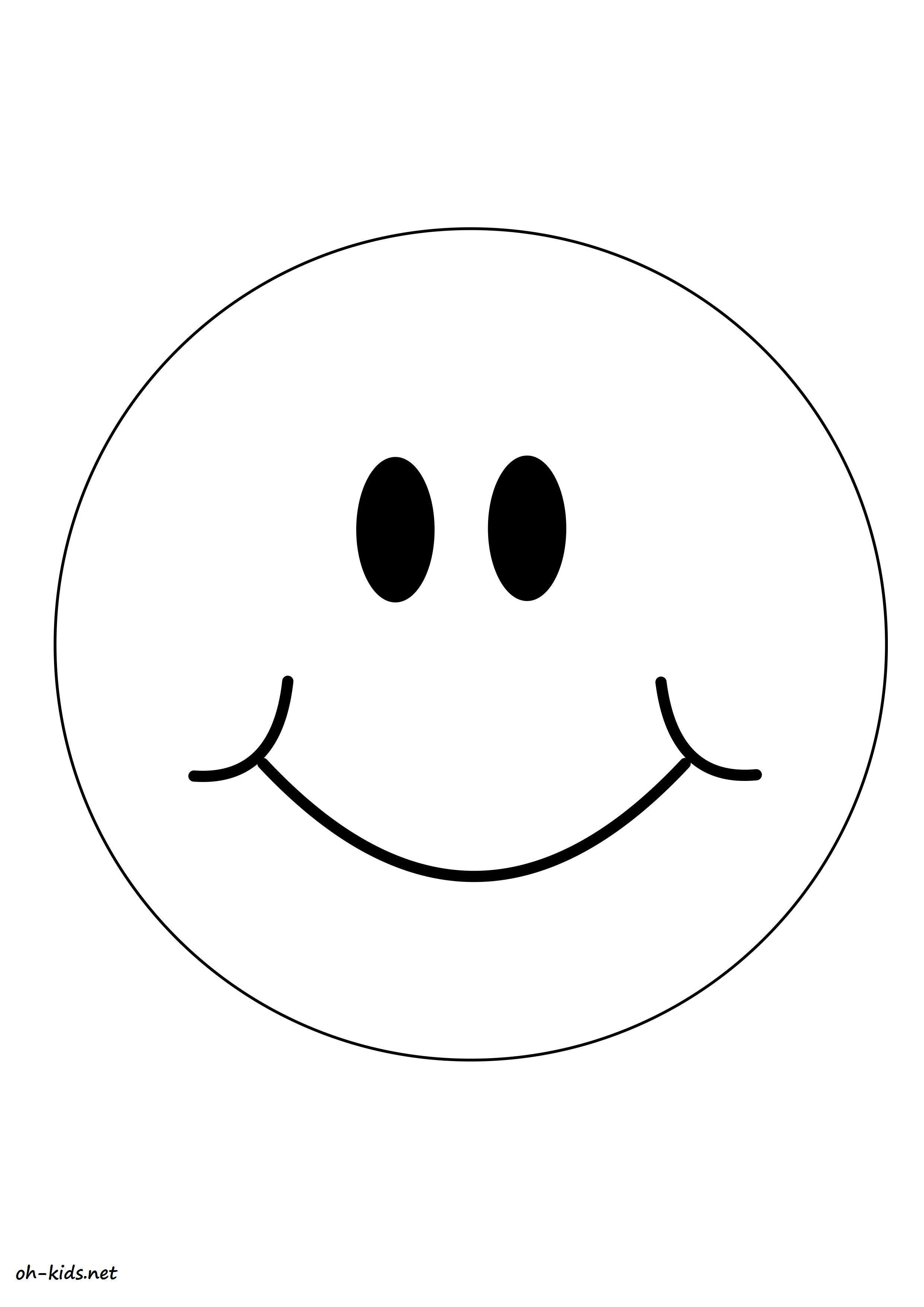 Dessin #754 - Coloriage smiley à imprimer - Oh-Kids.net