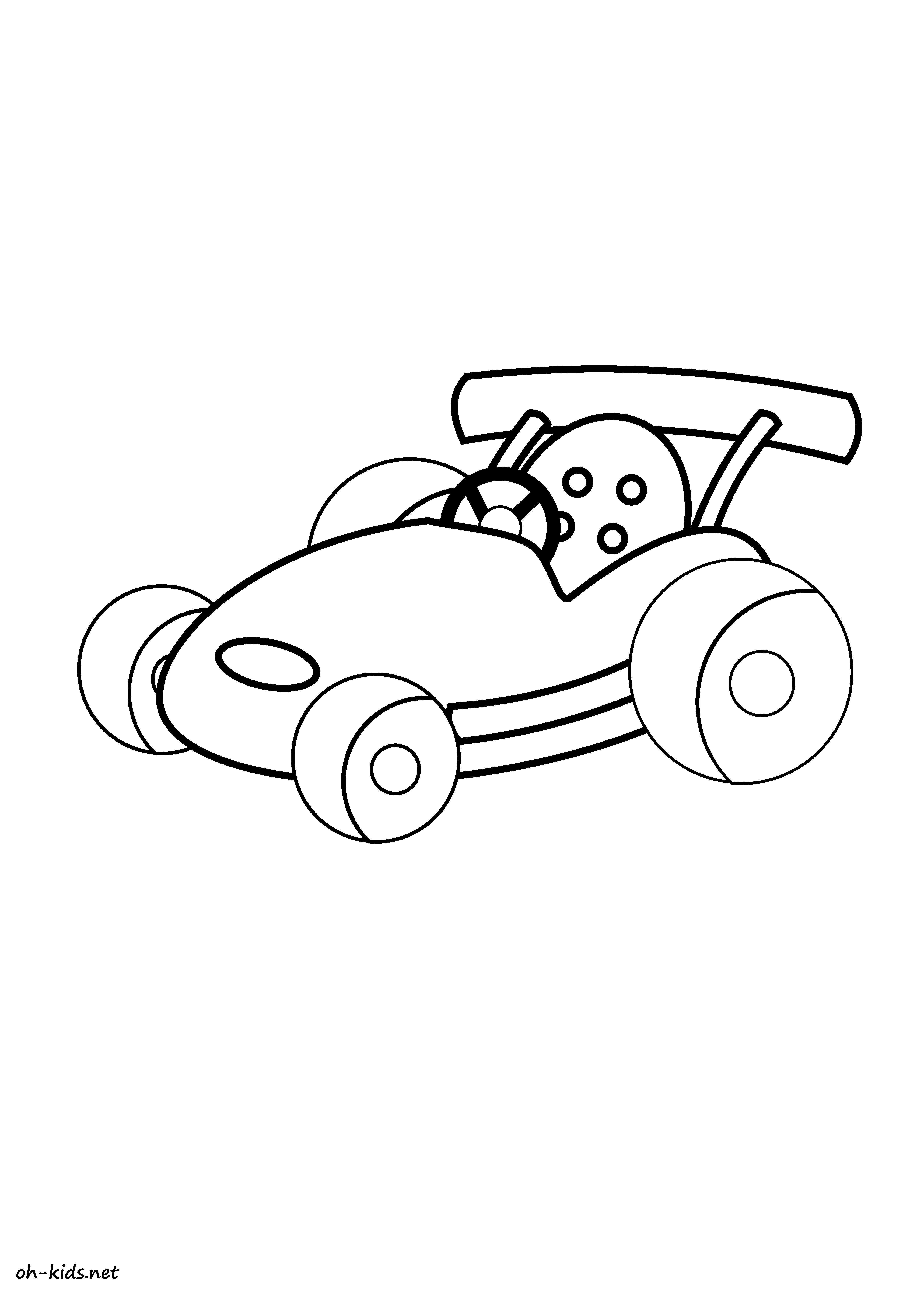 Coloriage voiture de course - oh Kids FR